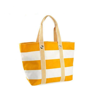 Wholesale Custom Striped Zipper Canvas Summer Tote Beach Bag With Cotton Strap