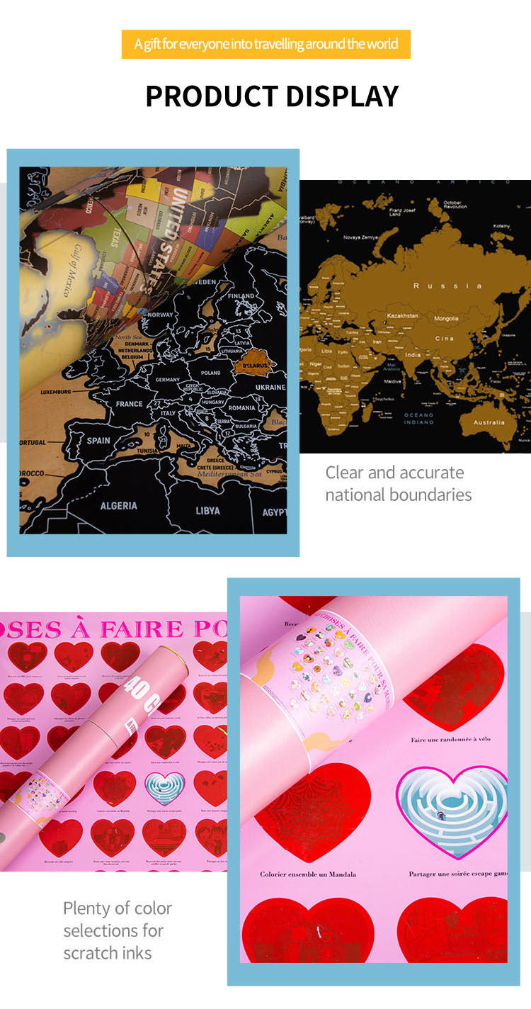 Large Deluxe Personalized Travel Sctrach Map Poster with Outlined sctrach off USA Map