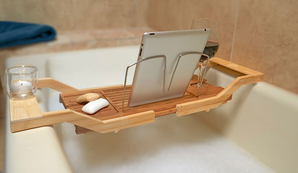 Bamboo Bathtub Caddy Tray With Book Reading Rack And Extending Sides 3