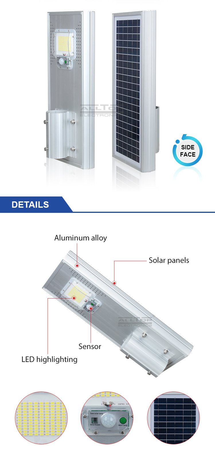 ALLTOP New product CE RoHS photocell sensor control dusk to dawn 60w 120w 180w all in one solar led street light