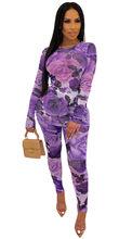 Женский комплект 2 шт. с цветочным принтом из прозрачной сетки, осень 2020, футболка, топ и штаны, костюм, сексуальные, вечерние, Клубные наряды, ...(Китай)