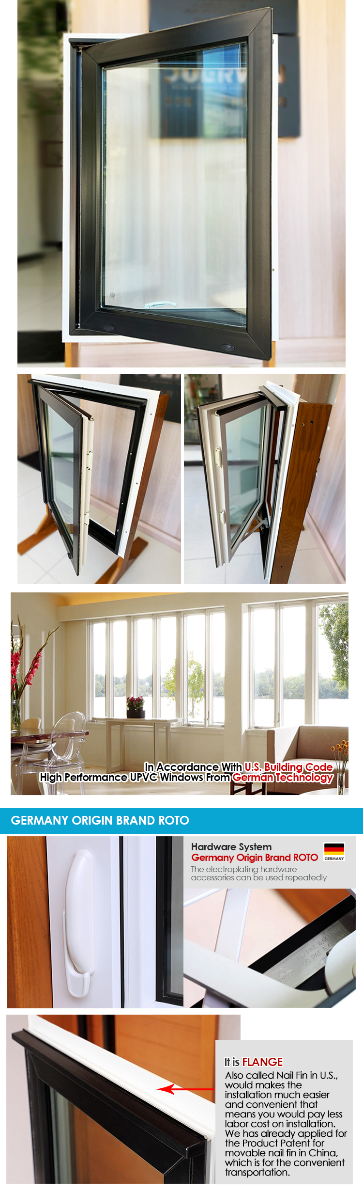 China window manufacturers tempered double glass sound proof pvc upvc casement crank windows