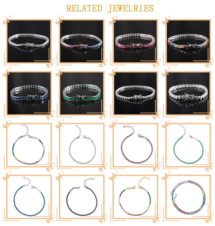 Bracelet de Tennis en argent Sterling 925, diamant plaqué or blanc, pour femmes