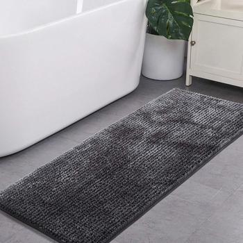 Dark Grey Bathroom Rugs Runner Non Slip