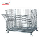 Industrial Foldable Stain Steel Pallet Box Collapsible Wire Mesh Container Stackable Metal Storage Cage For Warehouse