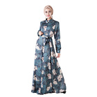 daily wear digital floral printed long sleeve muslim kimono dress with satin fabric