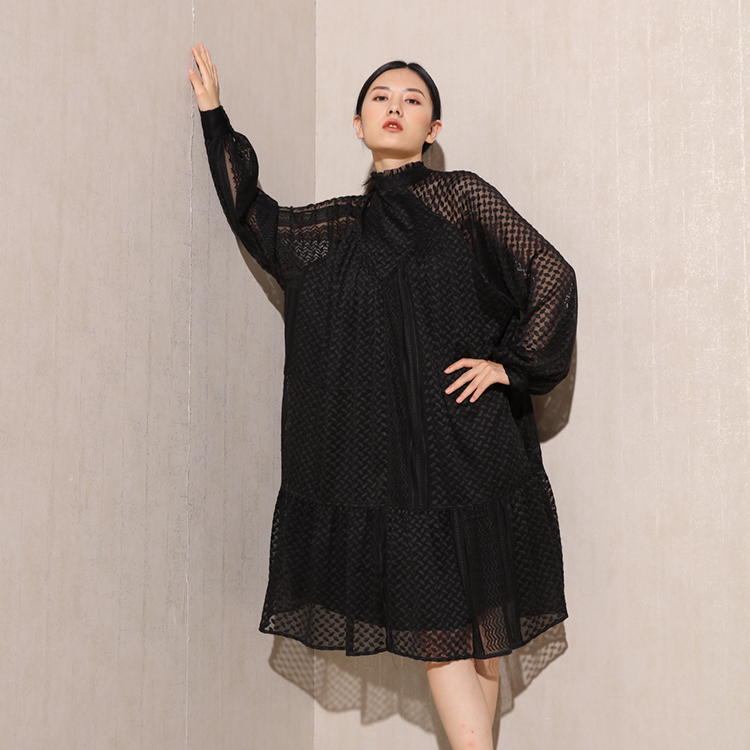 High quality women's wear embroidered black knee length fashion sexy woman fall dresses new arrivals 2020