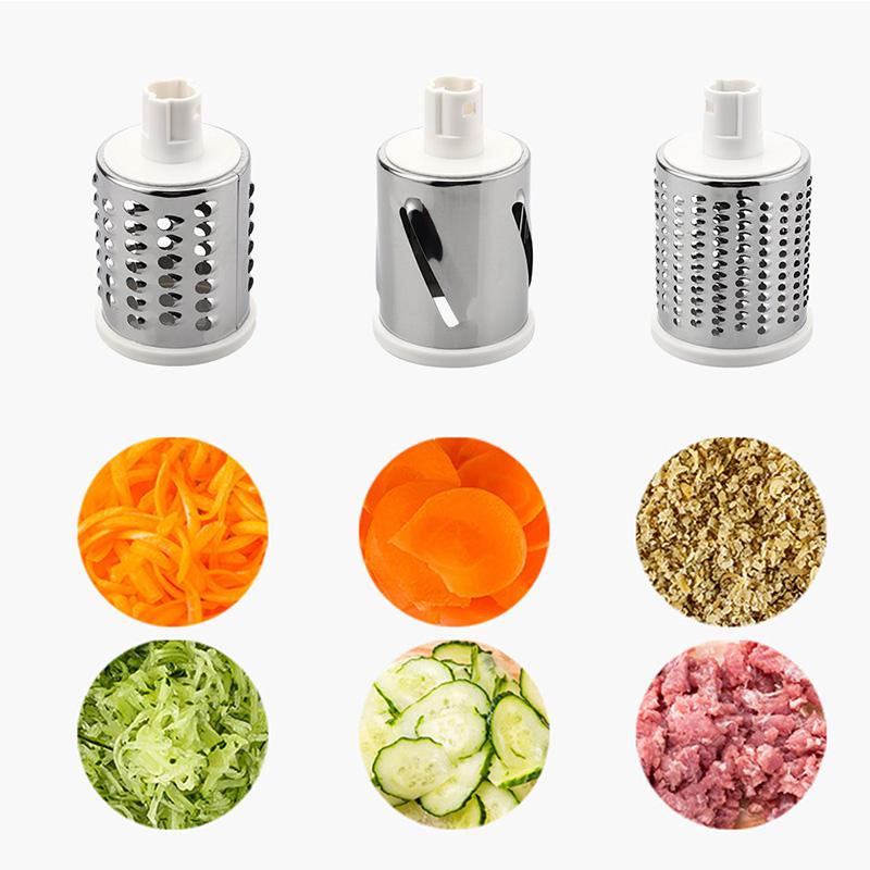 3 color rotativa Manual cortador de vegetales fruta máquina de cortar ronda tambor giratorio rallador de queso