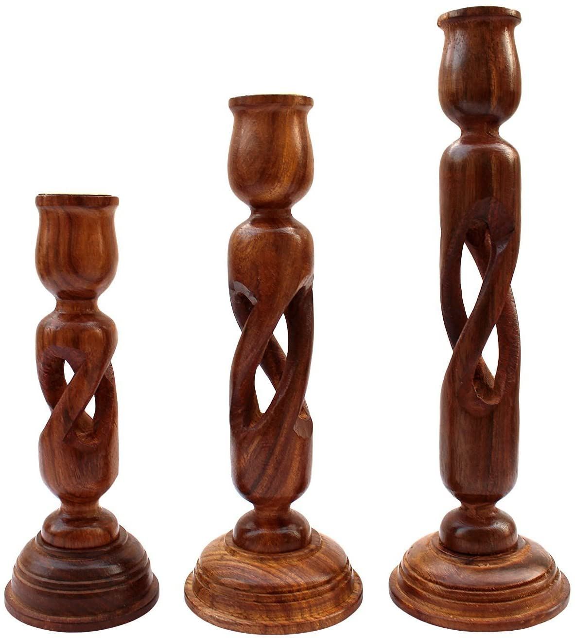 Handmade Wooden Candle Stand Holder Gifts Set of 3