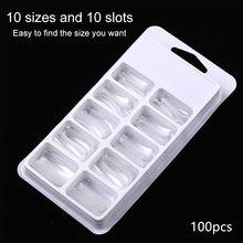 100 шт./кор. ультратонкие C arc неглубокие Профессиональные Накладные ногти инструменты для УФ гель-лака инструменты для дизайна ногтей(Китай)