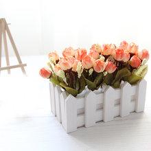 Искусственные цветы розы с белым забором горшок мини бонсай набор для вечеринки свадьбы украшения дома офиса украшение стола(Китай)