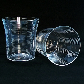 Hand Cut ribbed glass tumblers with ground glossy bottom