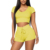 JB-19101569 2020 Summer Short Sleeve Knit Crop Top Hoodie High Waist Bodycon Shorts Two Piece Set Women Clothing