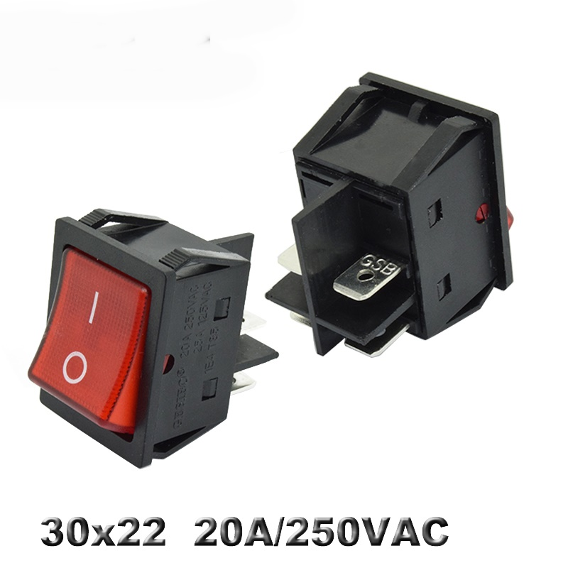 Animuss KCD4 AUF-OFF 16A 250VAC/20A/30A 125VAC Rote Taste Licht Rocker Switch 4 Pin Rocker power Schalter