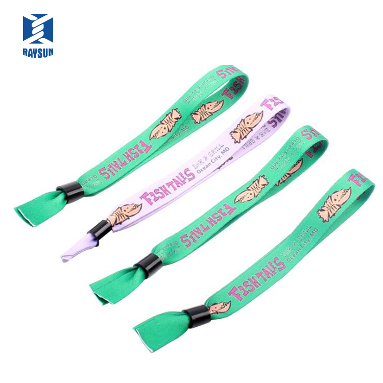 Customizable LOGO text graphics woven fabric custom promotional  wrist band