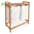 Large Capacity Bamboo Wood Storage System Double Laundry Hamper With 2 Bag White Linen And Top Shelf to Organize Detergent