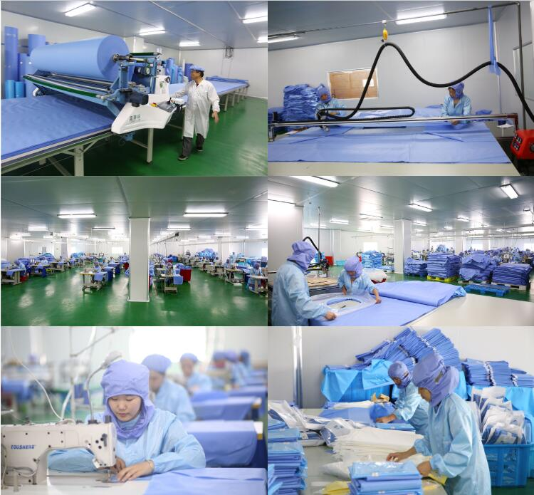 Disposable wholesale hospital blue green surgical theatre gown