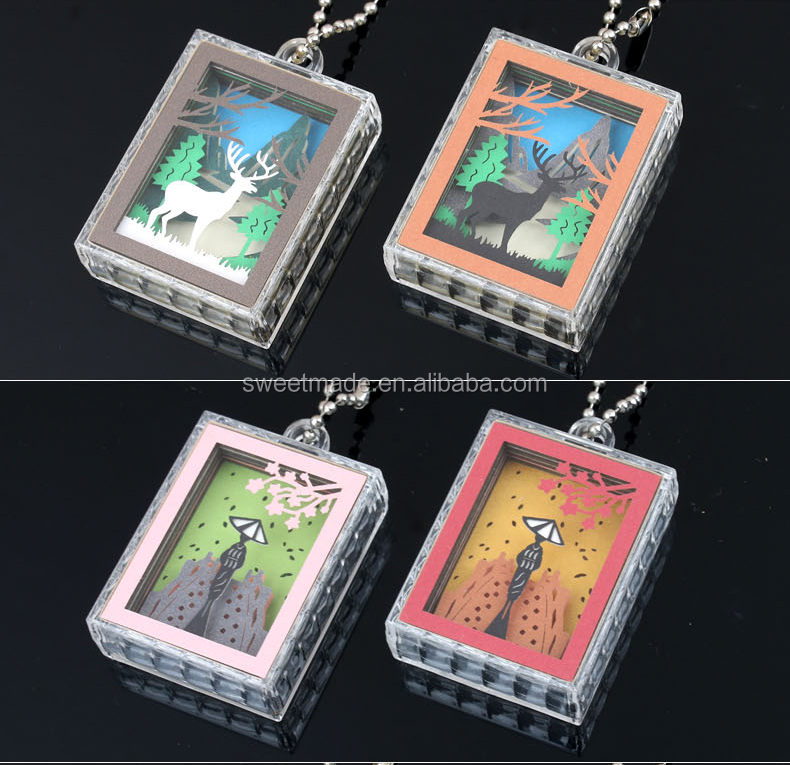 Creative New design custom 3D paper carving acrylic keychain for promotion gifts