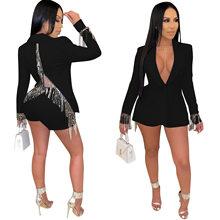 ANJAMANOR мода осень размера плюс 2 шт женские костюмы с открытой спиной кисточкой блейзер и шорты сексуальный клубный комплект из двух частей ...(Китай)
