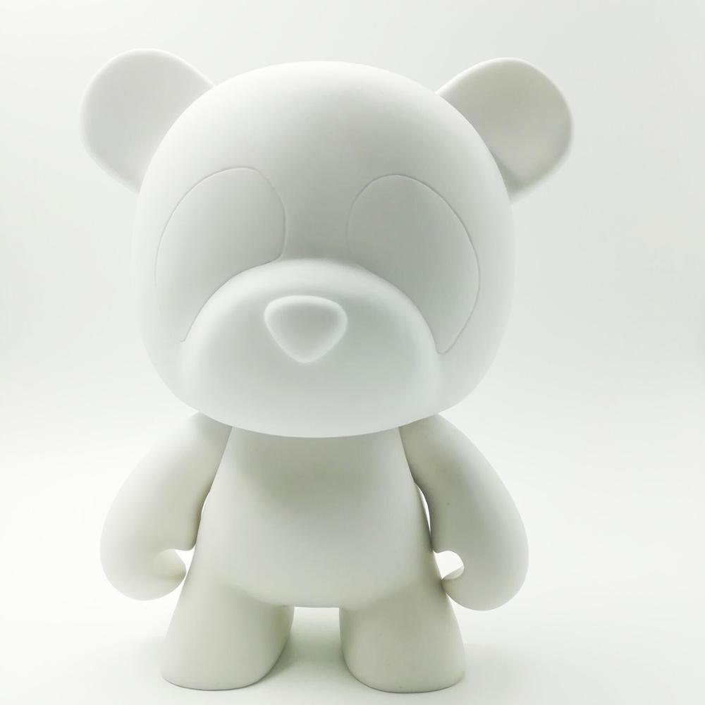 Mini bär form diy vinyl spielzeug, benutzerdefinierte cartoon tier kunst malerei vinyl figur, weiß farbe blank vinyl spielzeug figur