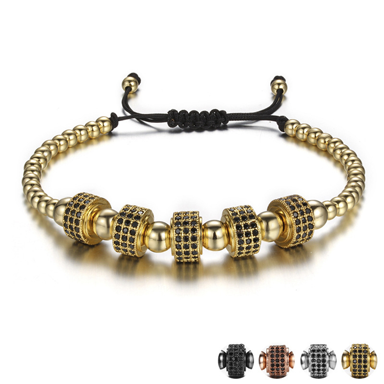 Fashion Anil Arjandas Elastic Bracelet Copper Bead Adjustable Micro Pave CZ Braiding Macrame Bracelet