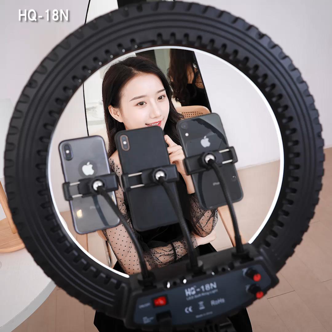 2020 Amazon sıcak satış 18 inç halka selfi ışığı ile telefon tutucu uzaktan taşıma çantası kamera cep telefonu Video çekimi portre