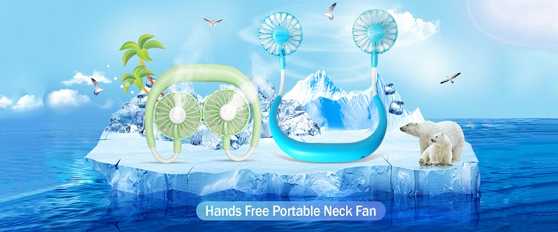 2020 New Cooling Water Spray Mist Mini Usb Rechargeable Led Neckband Fan Hands Free Humidifier Neck Fan For Sports Home Office