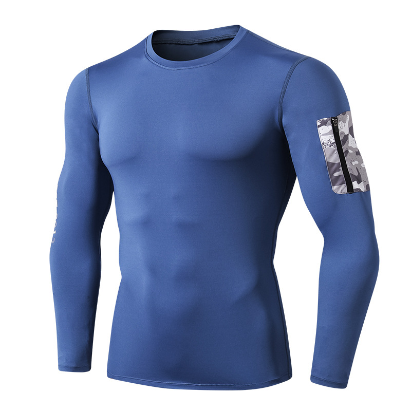 Men's Side Pockets Compression Top Long Sleeve T-shirt Cool Dry Baselayer For Workout/sports/fitness 3
