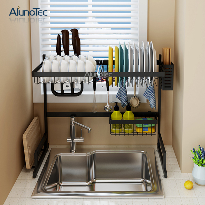 65cm Storage Shelf Stand Black Holder Over The Sink Drying Drainer Dish Rack Stainless Steel Kitchen View Metal Kitchen Storage Dish Drying Rack Alunotec Product Details From Dongguan Aluno Industry Co Ltd