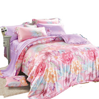 3PCS Printed latest flower tencel bed sheets
