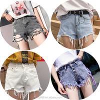Hot sale 2020 latest fashion jean denim shorts women with fringe