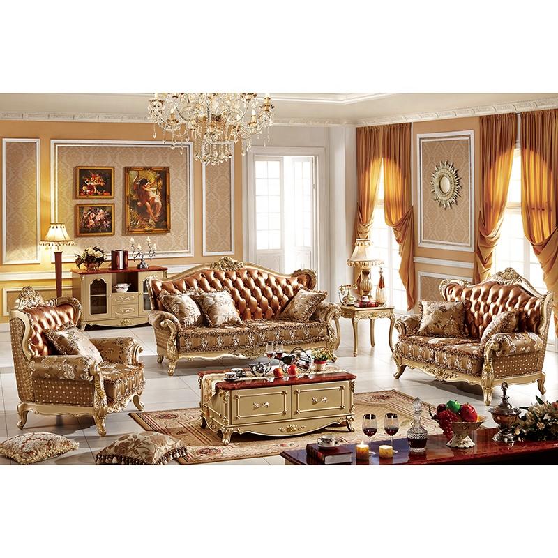 2019 New Design Antique Sofa European Style Classic Genuine Leather Sofa Sets