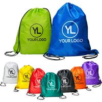 Custom Printed Logo Promotional Polyester Sports Drawstring Gym Bag