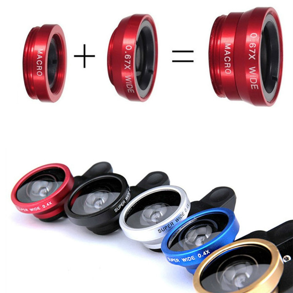3 In 1 mobile Phone Camera Lens Kit 0.67x Wide Angle + Macro Lens 180 Degree Fish eye For iPhone Smartphone Accessories