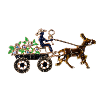 Costume vintage alloy crystal man brooch enamel horse flower carriage lapel pin brooch