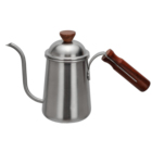 Professional 18/8 Stainless Steel Stovetop Coffee Pot Easy Grip wood Handle Gooseneck Drip Coffee Kettle with Wood Hand