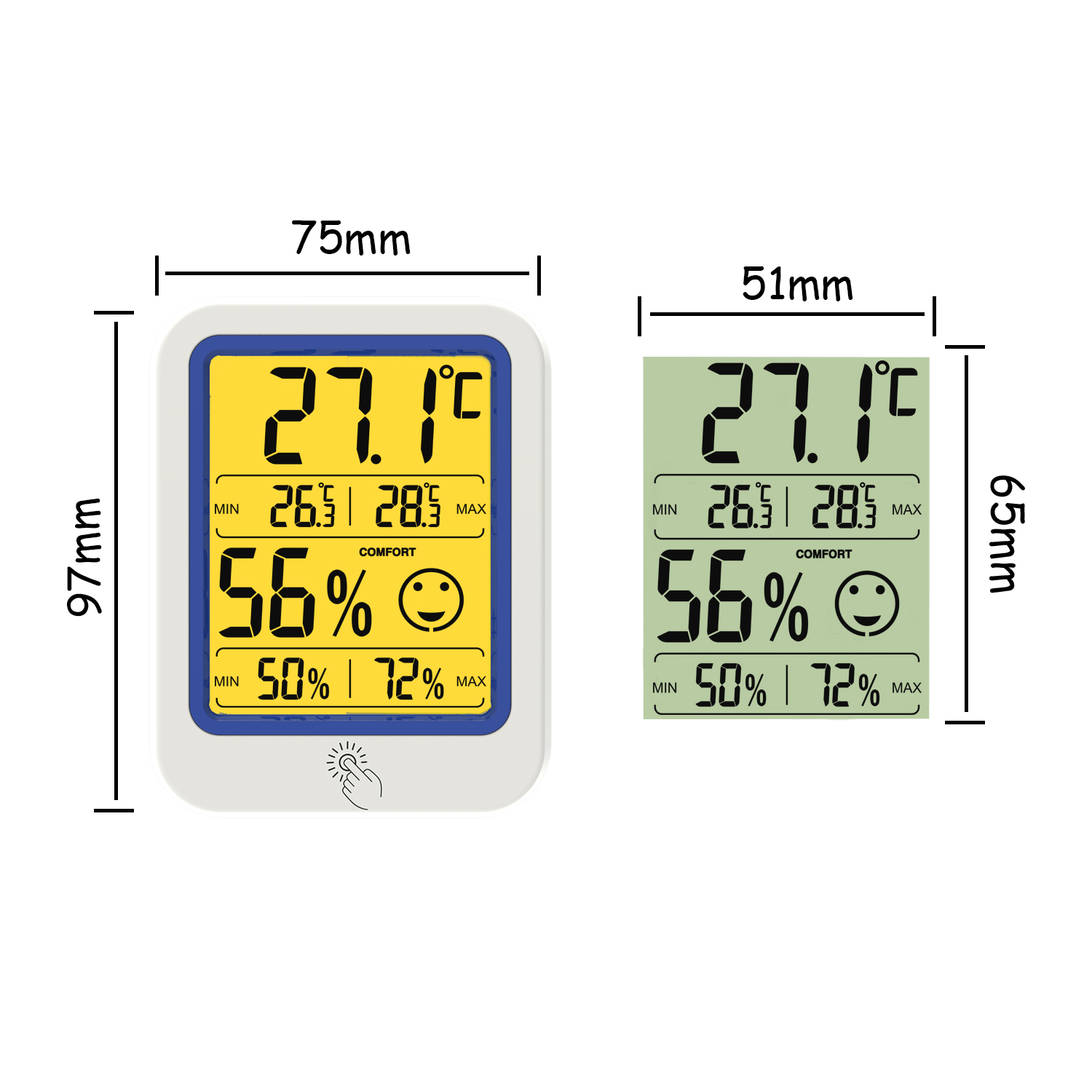 Household High Quality Indoor Electronic Digital Thermometer and Hygrometer with Night light  and Magnet