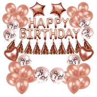 Birthday Party Supplies Rose Gold Party Decorations Confetti 16 inch Balloons Banner Birthday Party Decorations Set