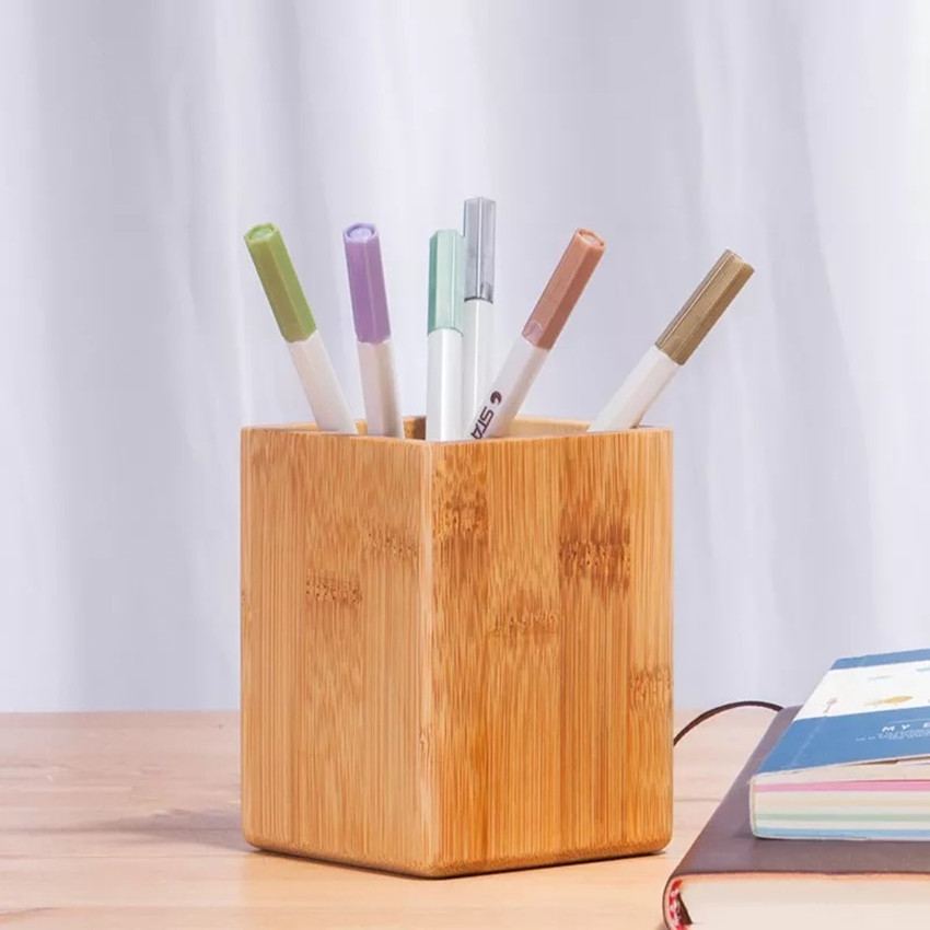 High Quality Office School Supplier Customized Logo Wooden <strong>Bamboo</strong> <strong>Pen</strong> <strong>Holder</strong> Pencil brush pot <strong>Pen</strong> <strong>Holder</strong>