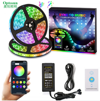 Music Sync-Chase Effect Dream Color Music Strip Lights 16.4ft 32.8ft 2835 5050SMD RGB Rope Lights Flexible String Light