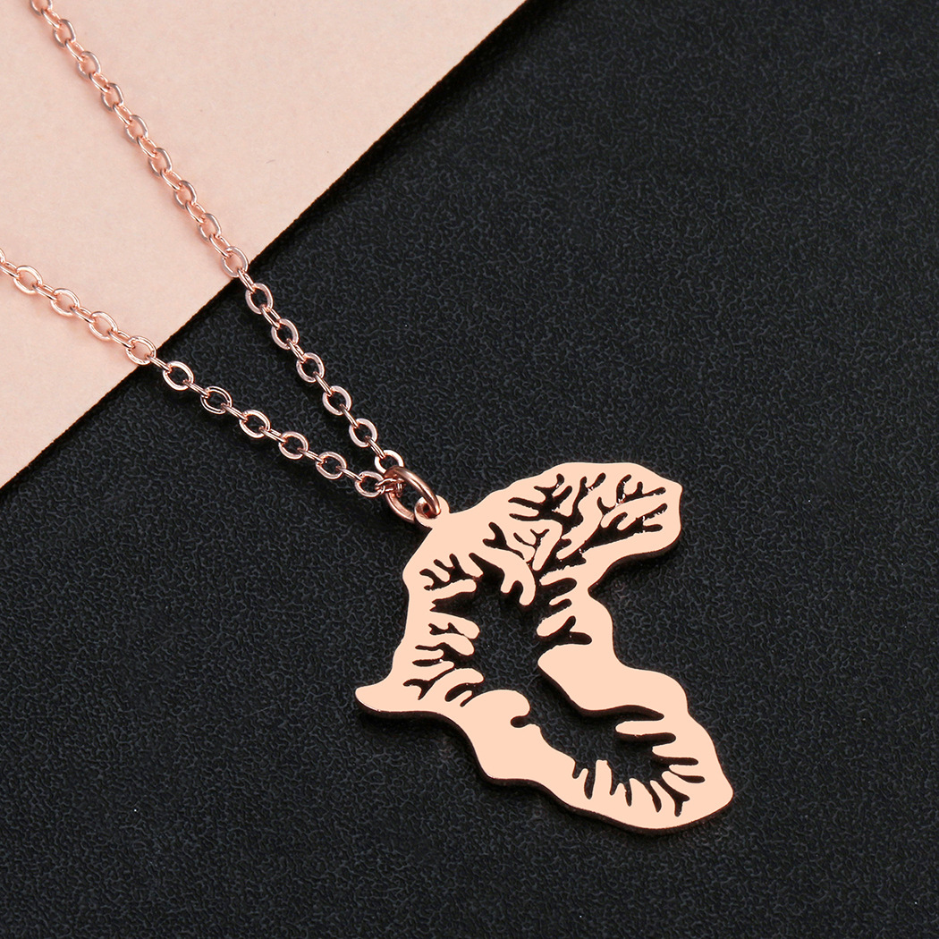 QMS002 Trade Assurance New Fashion Stainless Steel Hollow Out Map of Africa Necklace Personality Africa Map Tree Necklace