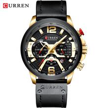 Мужские наручные часы CURREN на кожаном ремешке, голубые, с секундомером(Китай)