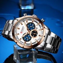 Curren Мужские часы 2019 Топ бренд класса люкс Синий Стальной Кварцевый Хронограф Роскошные мужские часы синие стальные мужские часы relogio masculino(Китай)