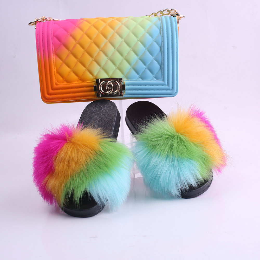 Fashion colorful purses and fur shoes fur matching shoe and bag set for women  women shoe and bag set