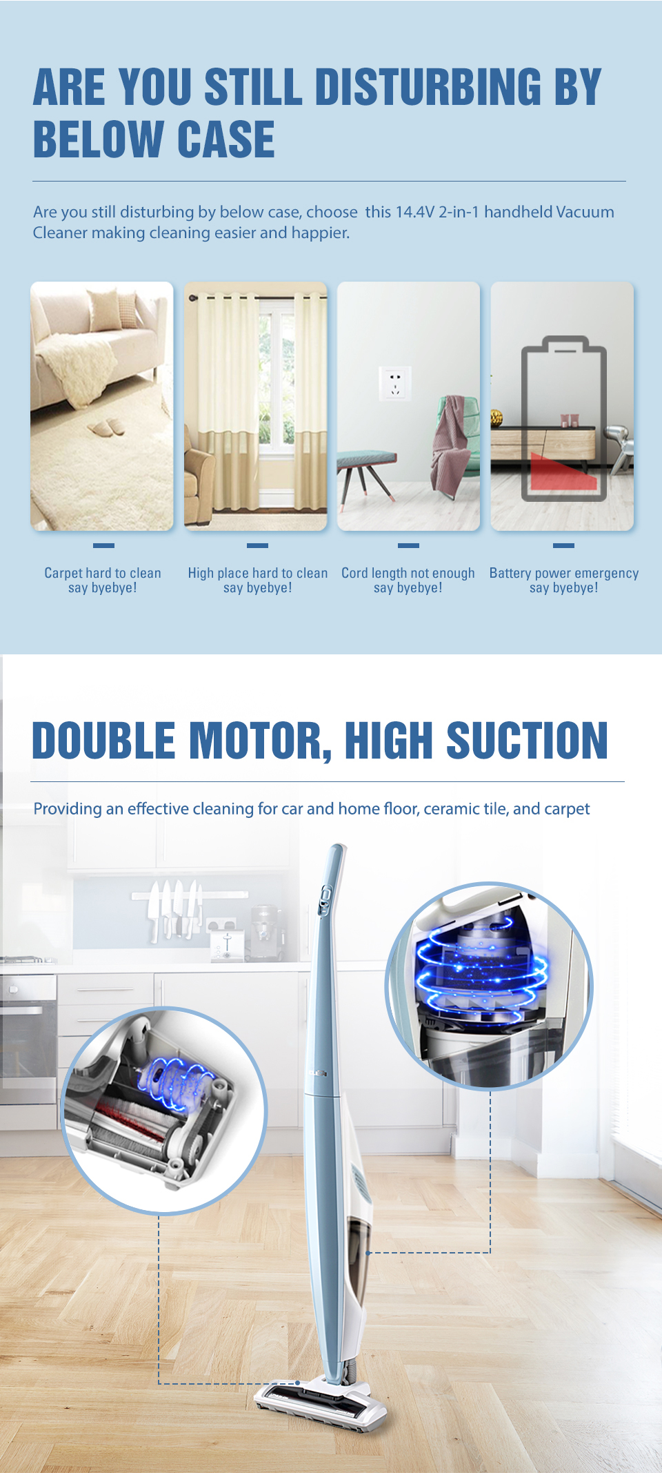 CLEVA factory direct 14.4V competitive price hot sell style Cordless 2-in-1 Stick handheld Vacuum Cleaner dry wireless-VSA1402UK