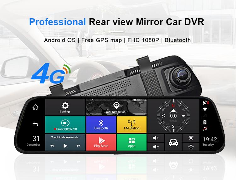 "1080P Dash Cam Car DVR 10"" Stream RearView Mirror Touch screen Super night vision Camera Video Recorder Auto Registrar Dashcam"