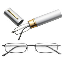 Портативный металлический футляр для очков для чтения с ручкой, Чехол для очков при дальнозоркости, Чехол для очков с пружинными петлями, ун...(Китай)