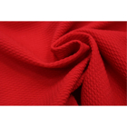 Stock Red Stretch Poly Spandex Solid Textured Knitted Bullet Fabric For Baby Bows