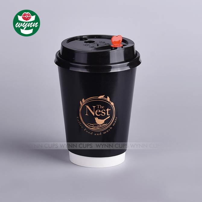 カスタム印刷黒ホット二重壁生分解性コーヒー使い捨て紙コップ卸売