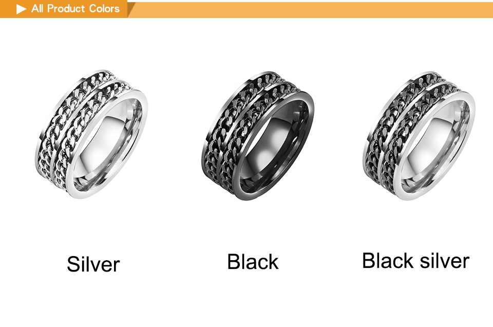 """Fashion finger Signet chain rings black men gold filled rings for men womens Unisex stainless steel high quality cheap rings  """